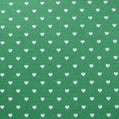 Фетр зелёный с сердечками